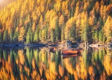 在Braies湖的木小船日出的在秋天 库存照片