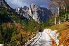 在Brenta白云岩的道路山在美好的秋天天 免版税库存照片