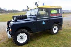 在Bridlington东部约克夏的海岸警备队车 免版税图库摄影