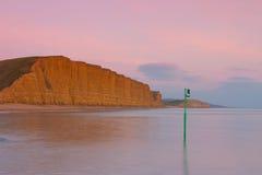 在Bridport,多西特,英国附近的普遍的海滩, 库存图片