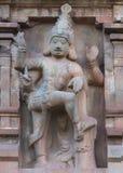 在Brihadeswarar寺庙Gopuram的Dwarapalaka雕象  免版税库存照片
