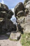 在Brimham岩石,北约克郡的结构在英国 库存照片