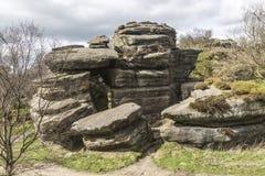 在Brimham的古老岩石结构在约克夏,英国,英国晃动 图库摄影