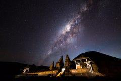 在Bromo腾格尔塞梅鲁火山国家公园的银河 图库摄影
