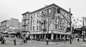 在Broodway街道的爵士乐壁画在旧金山 库存图片