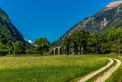 在Brusio在瑞士阿尔卑斯- 14附近的圆高架桥桥梁 免版税库存图片