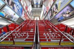 在BTS泰国驻地的装饰的和五颜六色的广告 免版税图库摄影