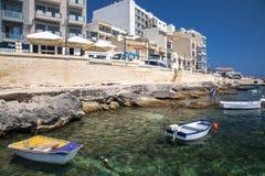 在Buggiba,马耳他的口岸 免版税库存图片