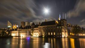 在Buitenhof的月光在海牙Nederlandsa ` 库存照片