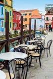 在Burano的咖啡馆 免版税库存图片