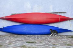 在Burano,威尼斯,意大利海岛上的五颜六色的明亮地被绘的皮船  库存图片