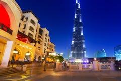在Burj哈利法塔的迪拜购物中心在迪拜 免版税库存图片