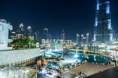 在Burj哈利法,迪拜,阿拉伯联合酋长国的看法,在晚上 免版税库存图片