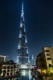 在Burj哈利法,迪拜,阿拉伯联合酋长国的看法,在晚上 库存照片