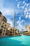 在Burj哈利法hight的看法828 m在迪拜,阿联酋的金融中心 库存图片