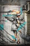在Bushwick的墙壁上的艺术 免版税库存图片