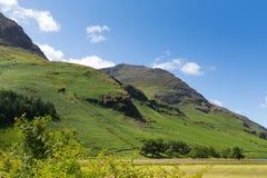 在Buttermere湖区Cumbria英国英国附近的新款式山在一个美好的晴朗的夏日 免版税图库摄影