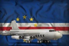在Cabo佛得岛状态旗子背景的轰炸机 3d?? 库存例证