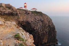 在Cabo圣地Vincente峭壁的日落 库存图片