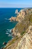 在Cabo da Roca,葡萄牙的海岸线 库存照片