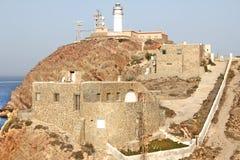 在CABO DE GATA附近的灯塔 免版税库存图片