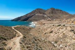 在Cabo del加塔角,阿尔梅里雅的小海湾在西班牙 免版税库存照片