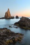 在Cabo del加塔角,阿尔梅里雅的日落在西班牙 库存照片