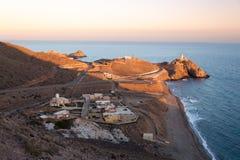 在Cabo del加塔角,阿尔梅里雅,西班牙的灯塔 免版税库存照片