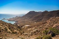 在Cabo del Gato,阿尔梅里雅,西班牙的无云的天空 图库摄影