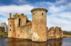 在Caerlaverock城堡的南西部塔 免版税图库摄影