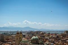 在Cagliary,撒丁岛的看法从上面 免版税图库摄影