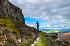 在Cairngorm山的Hillwalking E 库存图片