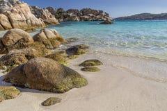 在Cala Coticcio海湾的美丽的海滩在Caprera海岛,撒丁岛,意大利 免版税库存图片