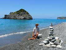 在Calabrian海滩的土地艺术 免版税库存照片