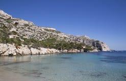 在Calanques的海湾Sormiou在马赛附近在南法国 库存照片