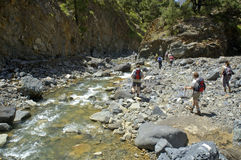 在caldera de taburiente的远足 免版税库存图片