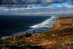 在California& x27的日落; s点雷耶斯国民海滨 库存图片