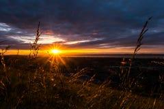 在Calton小山的日落 免版税库存图片