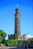 在Calton小山,苏格兰的纳尔逊纪念碑 图库摄影