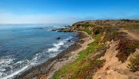 在Cambria加利福尼亚美国的坚固性中央加利福尼亚海岸线 免版税库存照片
