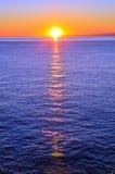 在camogli,热那亚的日落 免版税库存照片