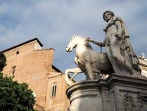 在Campidoglio的雕象在罗马 免版税库存图片
