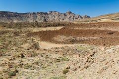 在Canadas del泰德峰,特内里费岛,西班牙的熔岩流 免版税库存照片