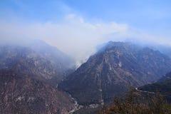 在Canyon国王的国家公园的森林火灾 免版税库存图片