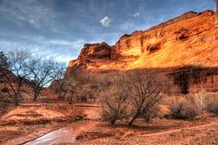 在Canyon de Chelly国家公园的日落 免版税图库摄影
