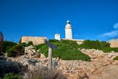在Cap在马略卡的de Formentor的灯塔,当日落时 免版税库存图片