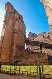 在caracalla的砖墙废墟和篱芭在罗马反弹 图库摄影