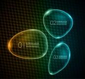 在carbonium背景的泡影玻璃infographics 免版税库存图片
