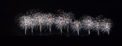 在Carcassonne节日的烟花2012年7月14日 免版税库存图片