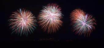 在Carcassonne节日的烟花2012年7月14日 库存图片